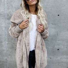 Winter Warm Hoodie Coat Fur Fashion Lady Overcoat Fluffy Hooded Jacket Outerwear