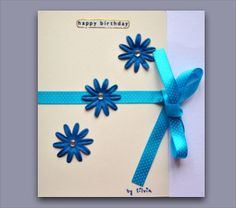Birthday card blue with flowers