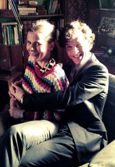 Louise Brealey (Molly) and Benedict Cumberbatch (Sherlock) behind the scenes of #Sherlock series 3