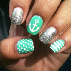 Silver and Tiffany blue nautical nail art