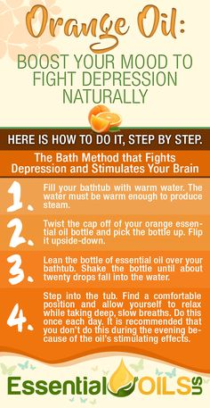 Orange essential oil boost your mood to fight depression naturally. Take advantage of orange essential oil's health benefits with this bath method that fights depression and stimulates your brain.