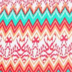 Cabana Ethnic Chevron Cotton Jersey Blend Knit Fabric - A soft cotton jersey rayon blend knit in a cabana beachy color palette with ikat ethnic and chevron design.  Fabric is light to medium weight with a nice stretch.  Ikat area measures 7