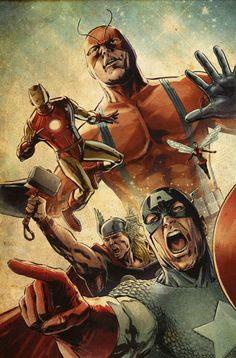 GIANT MAN, THOR, IRON MAN, WASP, AND CAPTAIN AMERICA