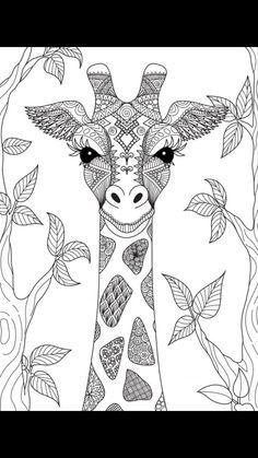 Giraffe Coloring Pages, Adult Coloring Book Pages, Cute Coloring Pages, Coloring Books, Animal Drawings, Art Drawings, Dibujos Zentangle Art, Giraffe Drawing, Mandala Drawing