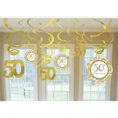 """Fill the party room with gold when you hang the Swirls With Cutouts Anniversary Decorations. The decorations have gold foil swirls with or Anniversary"""" cutouts. Each pack of Swirls With Cutouts Anniversary Decorations includes 12 swir 50th Wedding Anniversary Decorations, 50th Anniversary Decorations, Golden Wedding Anniversary, Anniversary Parties, 25th Anniversary, Anniversary Ideas, Anniversary Invitations, Aniversary, 50th Party"""