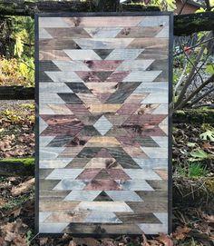 Rustic Aztec Tribal Print Wood Pattern Wall Art by Bayocean Rustic Design