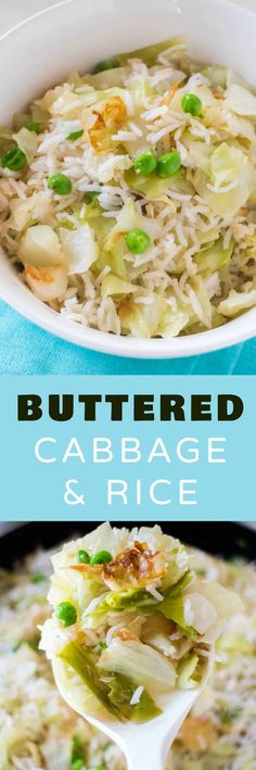 EASY Buttered Rice and Cabbage dinner! One of the best buttered cabbage recipes! This dish uses cooked cabbage and is ready in 20 minutes! It's a healthy vegetarian rice meal my entire family loves! Healthy Diet Recipes, Vegetarian Recipes Easy, Vegetarian Cooking, Vegetable Recipes, Cooking Recipes, Weeknight Recipes, Healthy Eats, Buttered Cabbage, Sauteed Cabbage