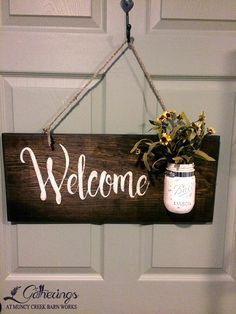 "**Saturday April 9th  9:30 - Noon Welcome Sign w/ Mason Jar Amy Smith Learn how to ""freehand"" paint lettering using a template.  Paint and distress the mason jar and prep the wooden sign ready to hang.  Amy is a very talented sign maker and this is your chance to learn the secrets to this popular craft!! (Cost $35+tax)"