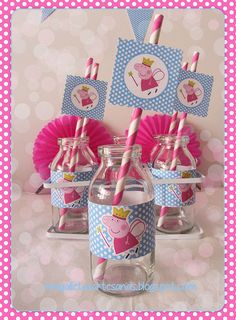 Peppa pig party decor - milk bottles for Blake's bday