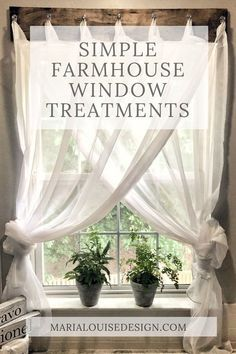 Farmhouse Window Treatment that I may use as inspiration with weathered wood and turquoise sheers for my coastal decor. Home decor Simple Farmhouse Window Treatments Farmhouse Windows, Country Farmhouse Decor, Farmhouse Style, Farmhouse Curtains, Rustic Curtains, Farmhouse Ideas, Kitchen Country, Kitchen Windows, Kitchen White