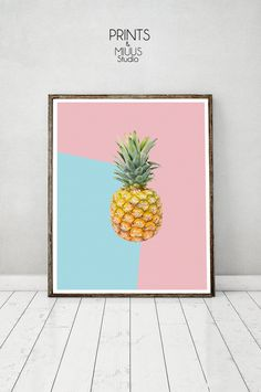 Pineapple Print Pineapple Art Tropical Print by PrintsMiuusStudio