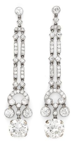 A Pair of Art Deco Diamond Ear Pendants, by Marzo. #Marzo #ArtDeco #earrings