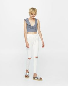 Pull&Bear - woman - new - high waist skinny trousers - ice - 09681301-I2017