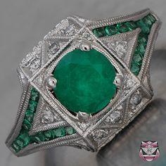 Deco Emerald Engagement Ring
