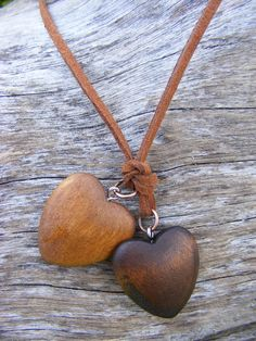 wooden heart necklace on suede