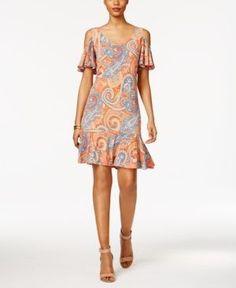 Msk Cold-Shoulder Paisley-Print Shift Dress - Orange 16