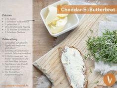 Rezept für ein leckeres Cheddar-Ei-Butterbrot.