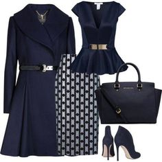 A fashion look from November 2014 featuring Oneness tops, Ted Baker coats and Araks skirts. Browse and shop related looks. Office Fashion, Work Fashion, Fashion Looks, Blue Fashion, Classy Outfits, Stylish Outfits, Cute Outfits, Style Work, My Style