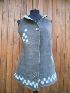 Felted merino vest, Felted reversible waistcoat, Coffee brown and mint embroidered vest, OOAK by BuriFelt on Etsy