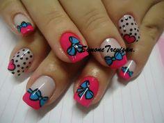 Blue bow with pink and polka dots Nails 2014, Kawaii Nails, Heart Nails, Little Bow, Nail Decorations, Cute Nails, You Nailed It, Hair And Nails, Nail Designs