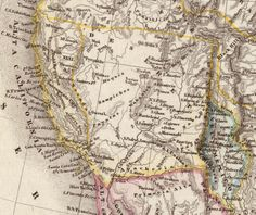 This 1850 German map of the United States recognizes the State of Deseret's claim to the Southern California coast. Note, however, that Deseret's official boundaries included the pueblo of Los Angeles, which this map excludes. Map of Vereinigte Staaten von Nord-America und Mexico by Carl Christian Franz Radefeld and Joseph Meyer. Courtesy of the Internet Archive.
