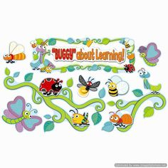 Buggy For Bugs Bulletin Board Set (CD-110238), 81 pieces The possabilities for decorating are endless with the assortment of lovable insects and colorful vines, flowers, and leaves. This bulletin board set allows you to bring some fun into your classroom while supporting the curriculum.  (http://store.oblockbooks.com/buggy-for-bugs-bulletin-board-set-cd-110238/)