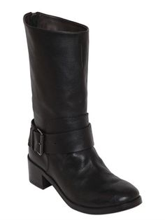 40MM LEATHER BIKER BOOTS