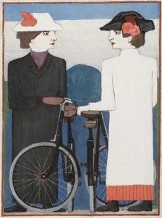 Buiten met de fiets 1913 Bart van der Leck (1876 - 1958) gouache op papier