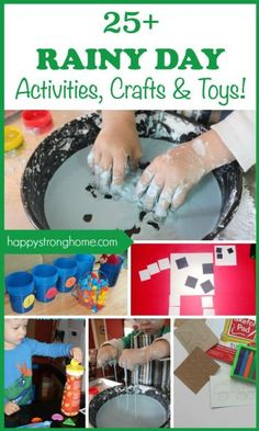 25+ best rainy day activities, crafts, games, and ideas for 2-6 year olds! Everything from toys that are great for indoor play, to easy crafts, science experiments for kids and a rainy day block maze idea! Also great for party activities or in preschool or kindergarten classrooms!