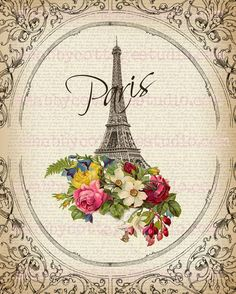 DIGITAL Download Large Image Paris Flowers by shabbycottagestudio, $3.25