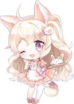 A Kawaii Chibi by Moorina Manga Kawaii, Kawaii Chibi, Kawaii Art, Kawaii Anime Girl, Anime Art Girl, Anime Girls, Manga Anime, Dibujos Anime Chibi, Cute Anime Chibi