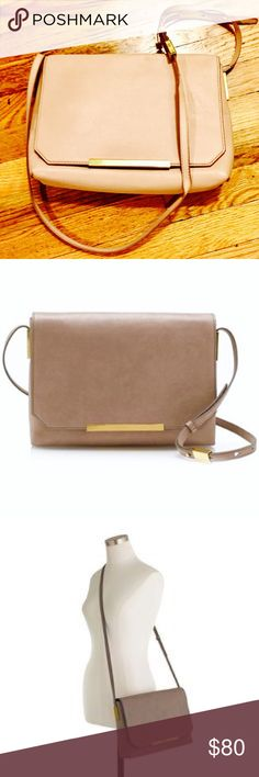 "J. Crew Claremont Crossbody Bag STILL WITH ORIGINAL TAGS ATTACHED! Beautiful leather, gold hardware, & suede trim interior. Color is ""desert pink"". Adjustable shoulder strap fully extends 52 1/2"" with 24"" shoulder drop. Measures 8""H x 11.5""W x 3""D. Multiple compartments inside plus zip pocket. PLEASE NOTE: Only used 2x, minor wear on corners and slight fading on the back due to storage and sunlight exposure. Marked NWT since original TAGS are still attached. Retails $250. 💥ASK ALL QUESTIONS…"