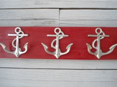 3 anchor wall hooks sailor boat cabin beach decor by riricreations, $38.00  For the Beach home or sailor!