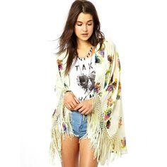 Stylish Ladies Casual Women's Floral Print Loose Kimono Chiffon Shirt