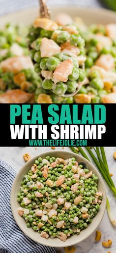 This Pea Salad with Shrimp recipe is a super easy side dish that's perfect for any gathering! It's light and creamy and your family will fight for seconds! Green Pea Salad, Green Peas, Shrimp Salad, Shrimp Pasta, Pasta Salad, Seafood Recipes, Dinner Recipes, Pea Salad Recipes, Frozen Shrimp