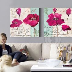 Fashion rose red poppy flower oil painting canvas prints home decor living room bedroom office wall art posters and prints