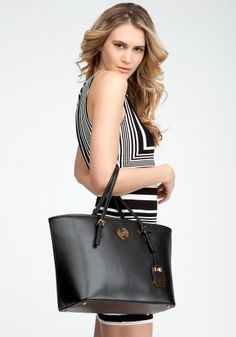 bebe Beverly Hills Leather Tote Handbags Blk-1sz coupon| gamesinfomation.com