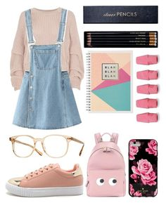 """My look for back to school!!!"" by culinaryjumi ❤ liked on Polyvore featuring River Island, WithChic, Sloane Stationery, Anya Hindmarch, Kate Spade and Oliver Peoples"