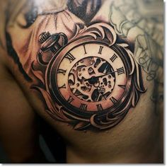 18. This Very Realistic Antique Pocket Watch Tattoo