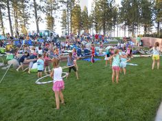 The Hula Hoops Contest before movie night in Eagle Ridge.