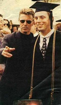 Duncan Jones with his dad, David Bowie, at his graduation from the College of Wooster in Ohio.