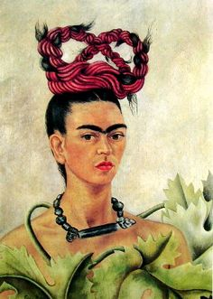 Self Portrait with Braid, 1941 Naïve Art (Primitivism) Oil on masonite #fridakahlo