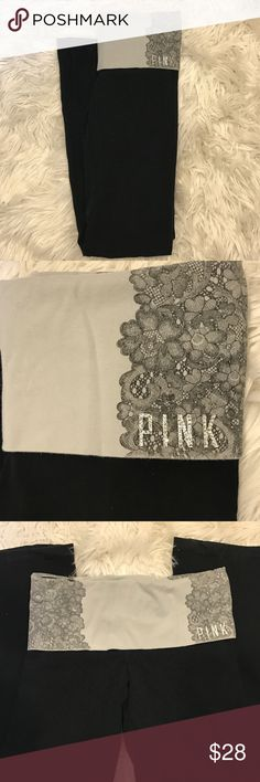 "VS Foldover Yoga Pants Grey Foldover Yoga Pants with lace design and blinked sequin ""Pink"".  Super cute, all gems in tact, only worn a few times! PINK Victoria's Secret Pants Boot Cut & Flare"