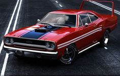 1970 Plymouth GTX sporting a Superbird wing.... personally I'd get rid of the side pipes