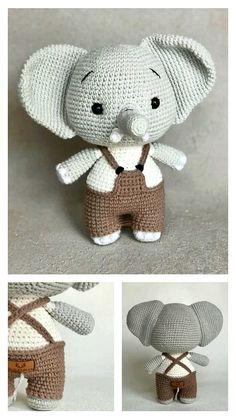 Free Crochet Elephant Pattern & many amigurumi elephant idea... Crochet Elephant Pattern, Crochet Animal Patterns, Crochet Patterns Amigurumi, Crochet Motif, Crochet Animals, Free Crochet, Step By Step Crochet, Stuffed Toys Patterns, Free Pattern