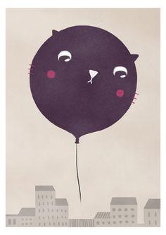 Cat balloon Print 8 x 11.5 by teconlene on Etsy