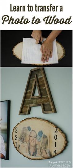 An alternative to transfer images to natural wood plaques. DIY THIS IS GENIUS! Such a wonderful way to display your favorite photos. Learn to transfer a photo to wood with this simple tutorial from Designer Trapped in a Lawyer's Body. Photo Transfer To Wood, Wood Transfer, Learn Woodworking, Woodworking Projects, Crafts To Make, Fun Crafts, Wood Projects, Craft Projects, Craft Ideas