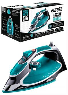 Eureka Razor Powerful Steam Iron Burst, Non-Stick Ceramic Soleplate with Auto-Off Super Hot 1500 Watt Iron Aqua Pouch Included Iron Steamer, Steam Boiler, Slide Images, Best Iron, Steam Iron, Static Cling, Water Spray, Laundry Detergent, Water Tank
