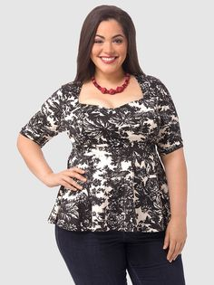 Ponte Peplum Top In Toile Print by Kiyonna Plus Size Peplum, Shirt Blouses, Shirts, Work Blouse, Trendy Tops, Clothes Horse, Plus Size Tops, Girly Girl, Style Me