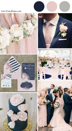 Navy and blush wedding palette. Navy and pink wedding. Navy and blush wedding cake. (How To Get Him To Propose Ideas) Navy Gray Wedding, Maroon Wedding Colors, Dusty Rose Wedding, Wedding Color Schemes, Burgundy Wedding, Spring Wedding Colors, Wedding Flowers, Wedding Ideas In Blue, Mens Wedding Suits Navy